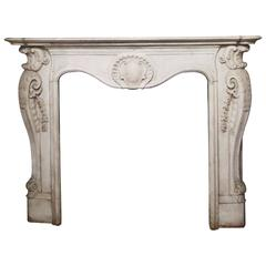 Italian 19th Century White Carrara Marble Louis XV Fireplace