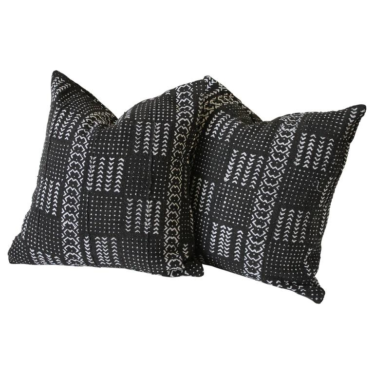 Vintage African Mud Cloth Accent Pillows with Down Insert For Sale
