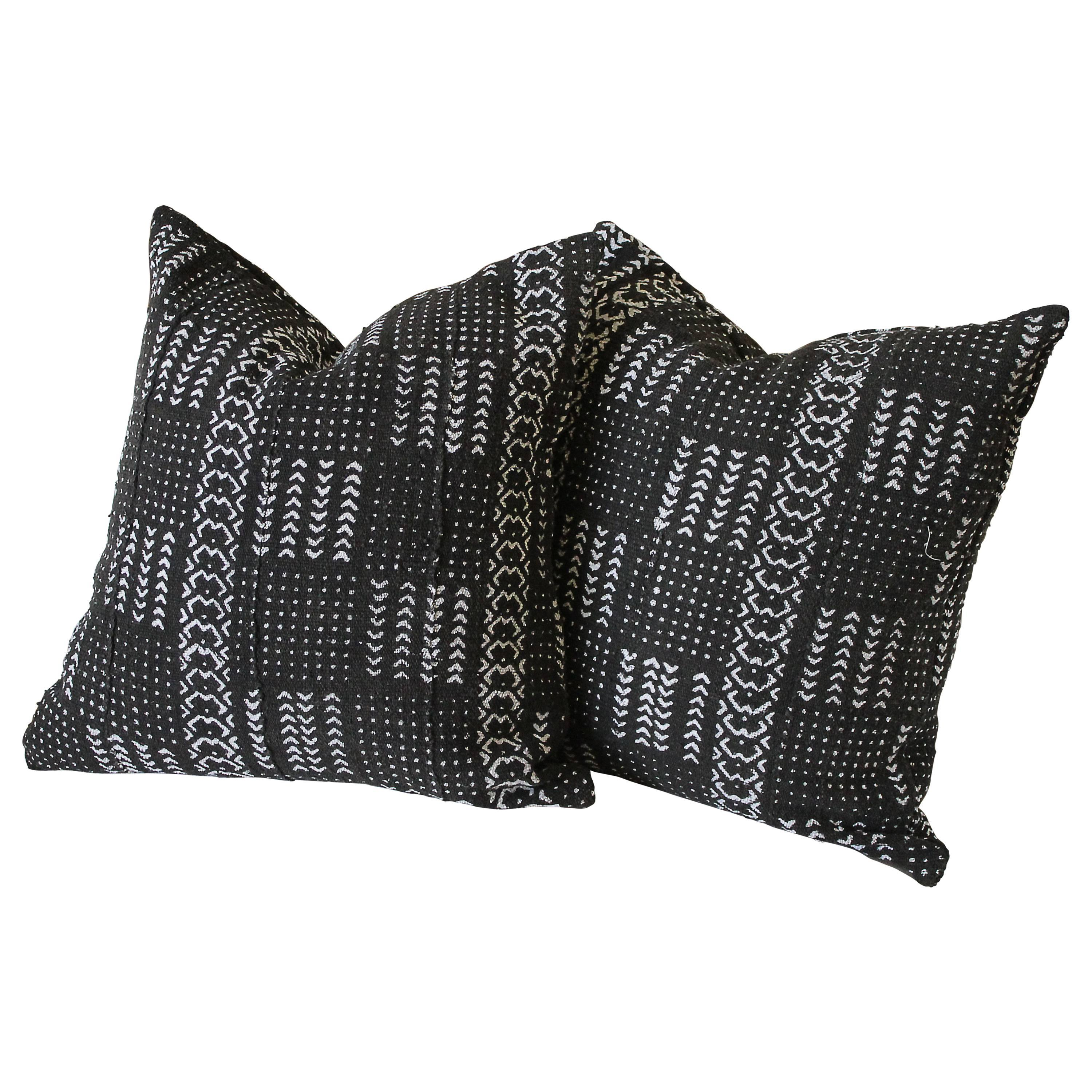 Vintage African Mud Cloth Accent Pillows with Down Insert