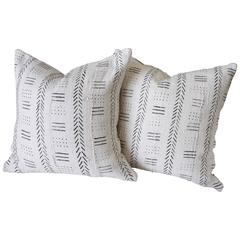 Pair of Soft White African Mud Cloth Pillows with Down Insert