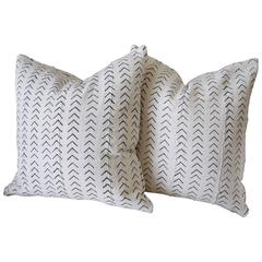 Black and White African Mud Cloth Custom Pillows with Down Inserts