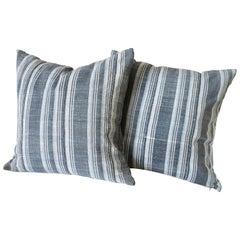 Vintage Indigo Stripe Accent Pillows with Down Insert
