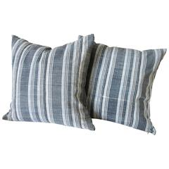 Vintage Indigo Stripe Accent Pillows with Down Insert