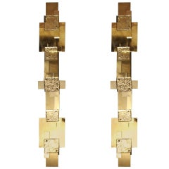 Pair of Long Reggiani Style Sculpture Polished Brass Wall Light or Sconces