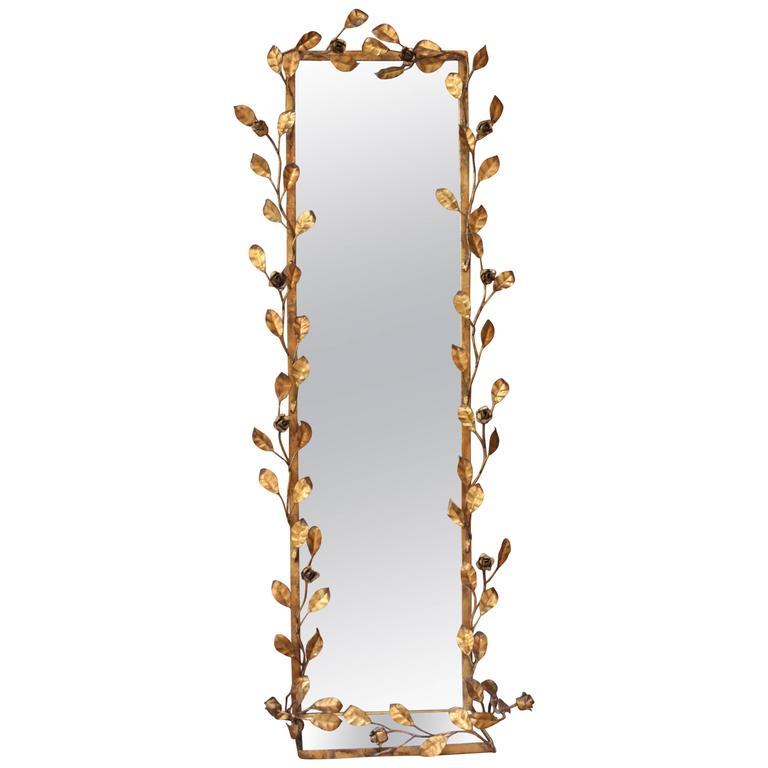 Italian Gilt Tole Floral Motif Mirror with Shelf 1