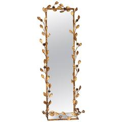 Italian Gilt Tole Floral Motif Mirror with Shelf