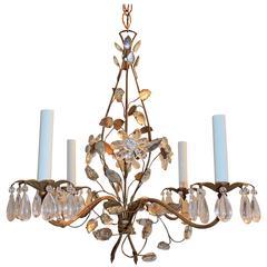 Wonderful Bagues Six-Light Rock Floral Crystal Bronze Transitional Chandelier