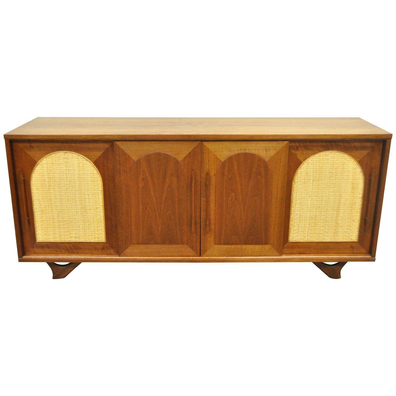 vintage midcentury danish modern walnut arch cane sliding door credenza cabinet