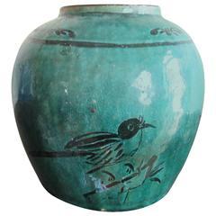 Chinese Green Glazed Ceramic Jar, 19th Century