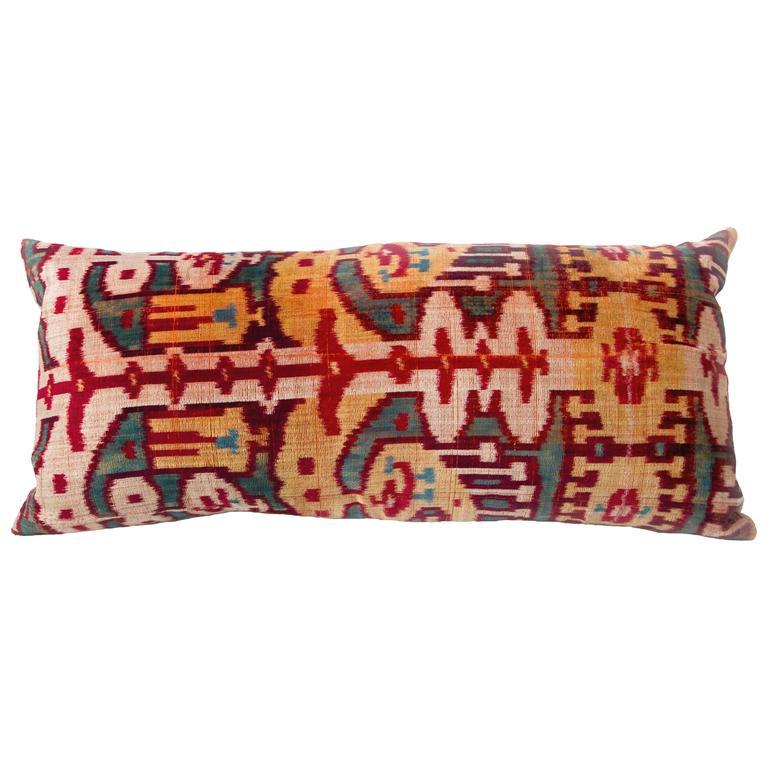 19th Century Silk Velvet Ikat Remnant Pillow For Sale