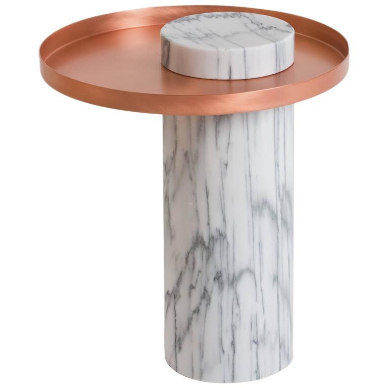 Salute Marble And Copper Side Table By Sebastian Herkner For