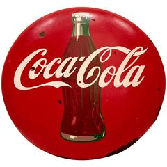 1950s Porcelain Coca Cola Hanging Button Advertising Sign