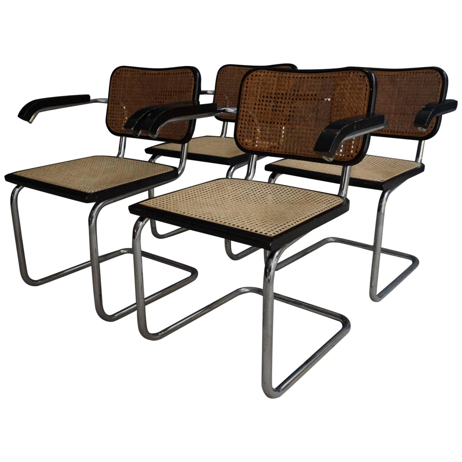 Breuer chair cane - Set Of Four Marcel Breuer For Cidue Dining Armchairs For Sale At 1stdibs