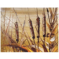 Bill Zuro Acrylic on Panel, Titled Cat Tails, Canadian Artist