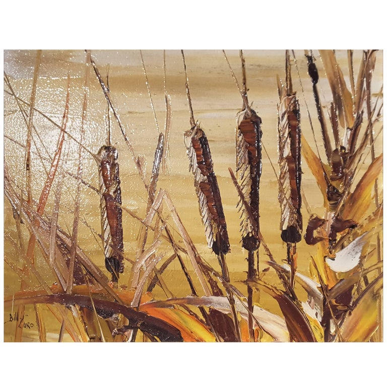Bill Zuro Acrylic on Panel, Titled Cat Tails, Canadian Artist For Sale
