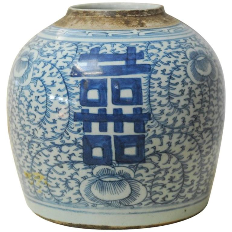 Chinese Blue and White Shuangxi Jar