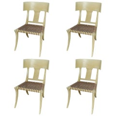 Set of Four Klismos Form Side Chairs