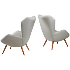 Ernst Jahn Pair of 1950s German Wingback Lounge Chairs