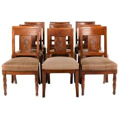 Set of Eight Empire-Style Mahogany Chairs, Circa 1900