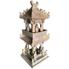 Monumental China Green Glazed Han Village Watch Tower Sculpture