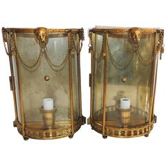 Handsome French Pair Neoclassical Lion Glass Tassel Swag Caldwell Wall Sconces