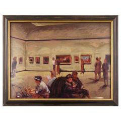 Colored Lithograph of Museum Interior Gallery by Stan Washburn