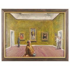 Stan Washburn Colored Lithograph of Museum Interior Gallery