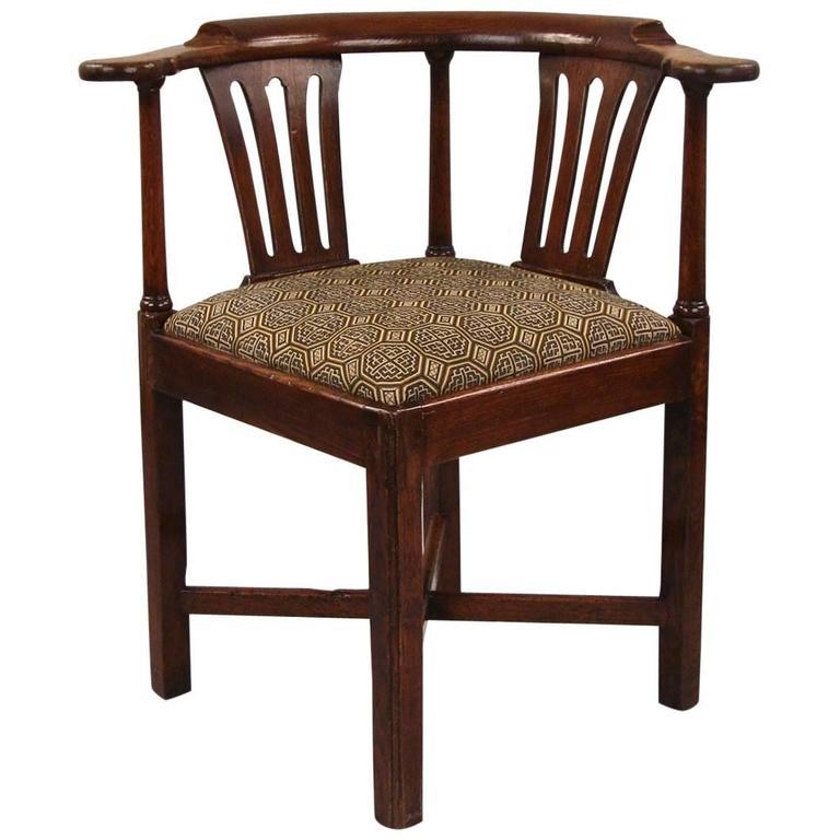 English George III Oak Corner Chair