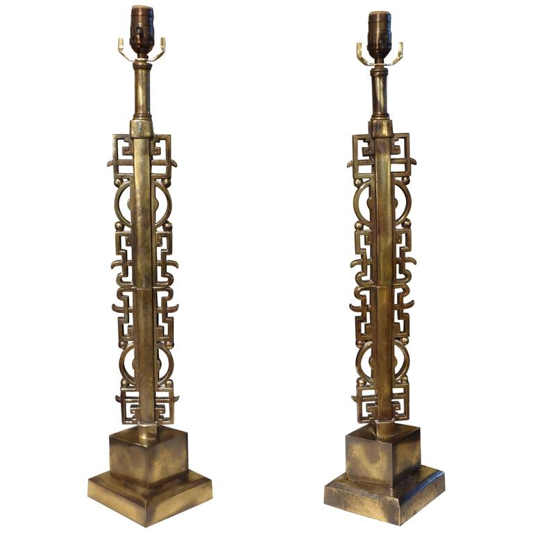 Pair of James Mont Style Asian Modern Brass Lamps