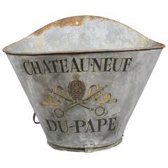 French Tole Wine Grape Gathering Basket from Chateau-Neuf Du-Pape