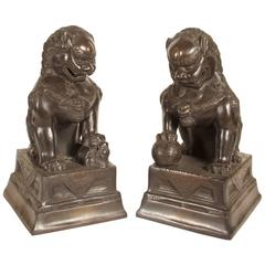 Late 19th Century Foo Dogs Dark Bronze