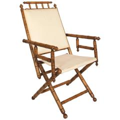 Faux Bamboo Campaign Chair
