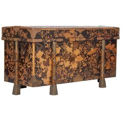 Large Japanese Gilt and Black Lacquer Karabitsu Chest with Bronze Mount