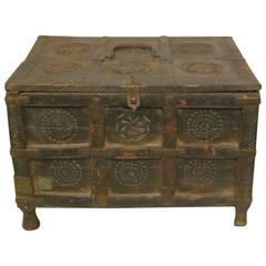 19th Century Indian Wood and Metal Box