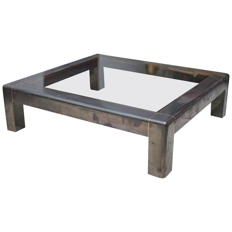 Karl Springer Gunmetal Coffee Table At 1stdibs