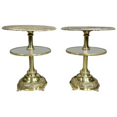 Pair Of Victorian Silver Plated And Glass End Tables