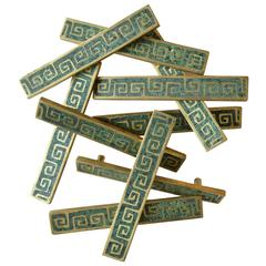 Set of Ten Brass and Ceramic Inlay Hardware Pulls by Pepe Mendoza, circa 1954