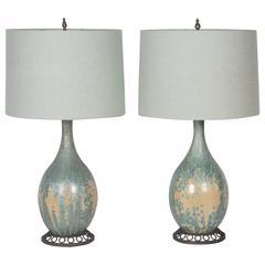 Pair of Celadon Pottery Lamps by Pierre-Adrien Dalpayrat and Louis Katona
