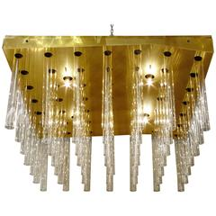 Large Square Flush Mount Murano Chandelier Attributed to Sciolari
