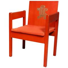 Prince of Wales Red Painted Investiture Chair