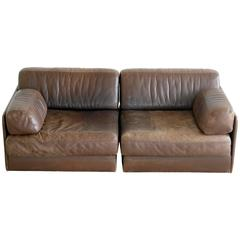 De Sede DS-76 Convertible Leather Sofa or Chairs in Chocolate Leather