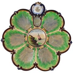 19th French Faience Oyster Plate with Boat Painting