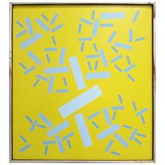 """Op Art Painting """"Plus Or Minus"""" by Peter Deutsch, 1968"""