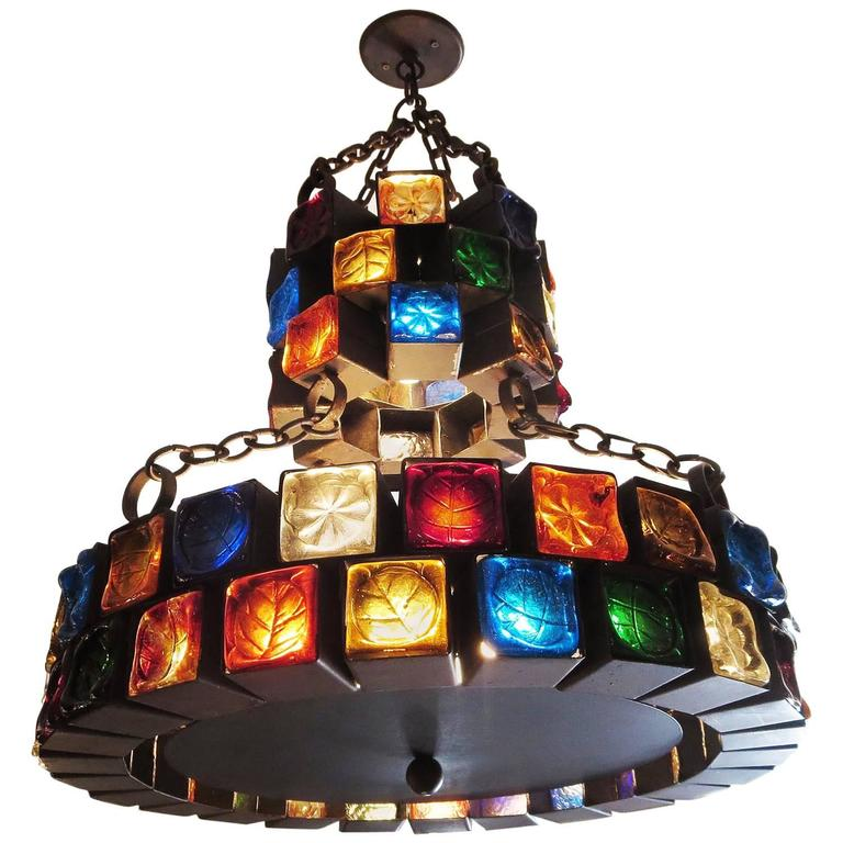 Multi-Colored Glass Brutalist Chandelier by Feder For Sale