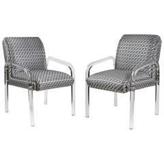 Chic Pair of Lucite Armchairs by Lion in Frost, 1970's