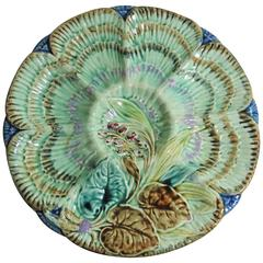 19th Century Belgium Majolica Flowers Oyster Plate Wasmuel