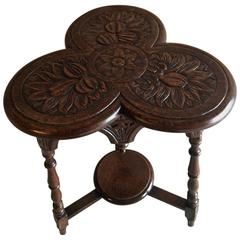 Small Carved Solid Oak Victorian Trefoil Table, 19th Century