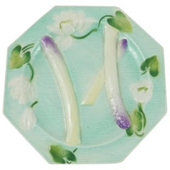 Majolica Octagonal Water Lily Asparagus Plate Saint Clement