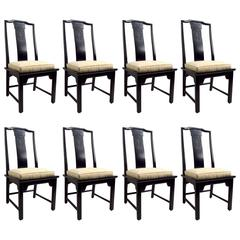 Set of Eight Chin Hua Dining Chairs in Black Lacquer Finish