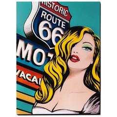 Red Lips on 66, Pop Art Painting, 2016